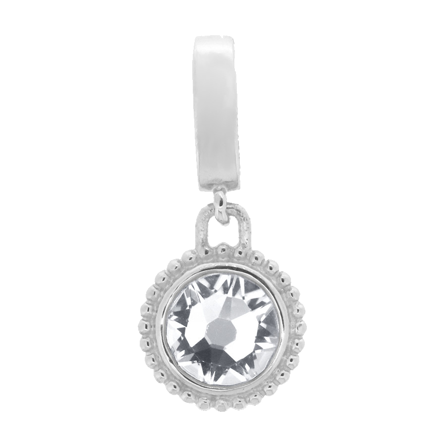 Shop white crystal charm in sterling silver.