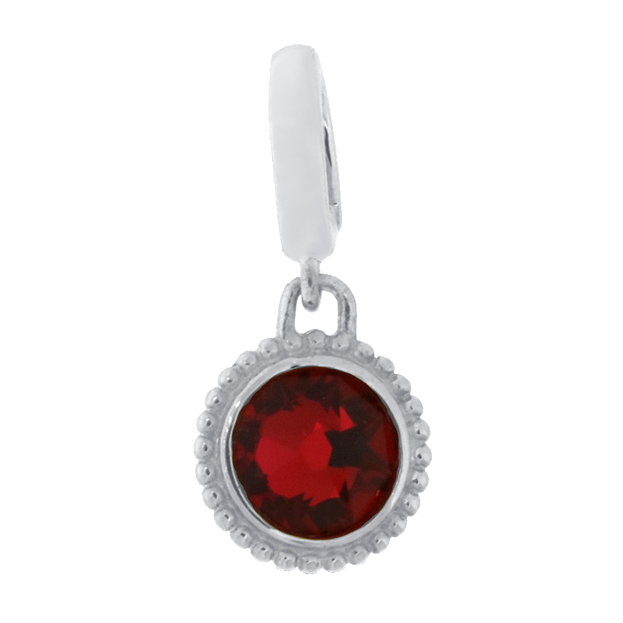 Shop burgundy red crystal charm in sterling silver.