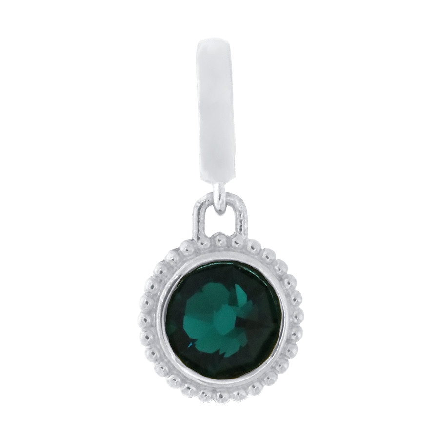 Shop dark green crystal charm in sterling silver.