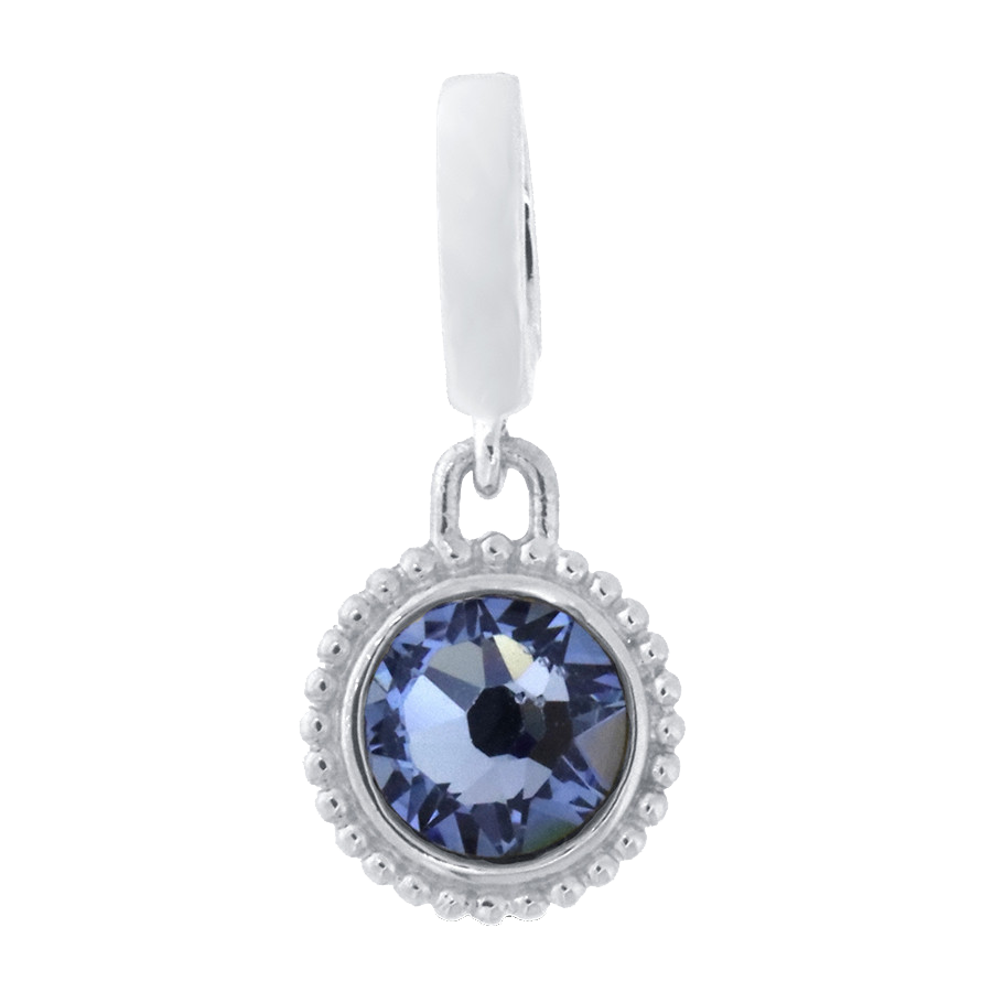 Shop light blue crystal charm in sterling silver.