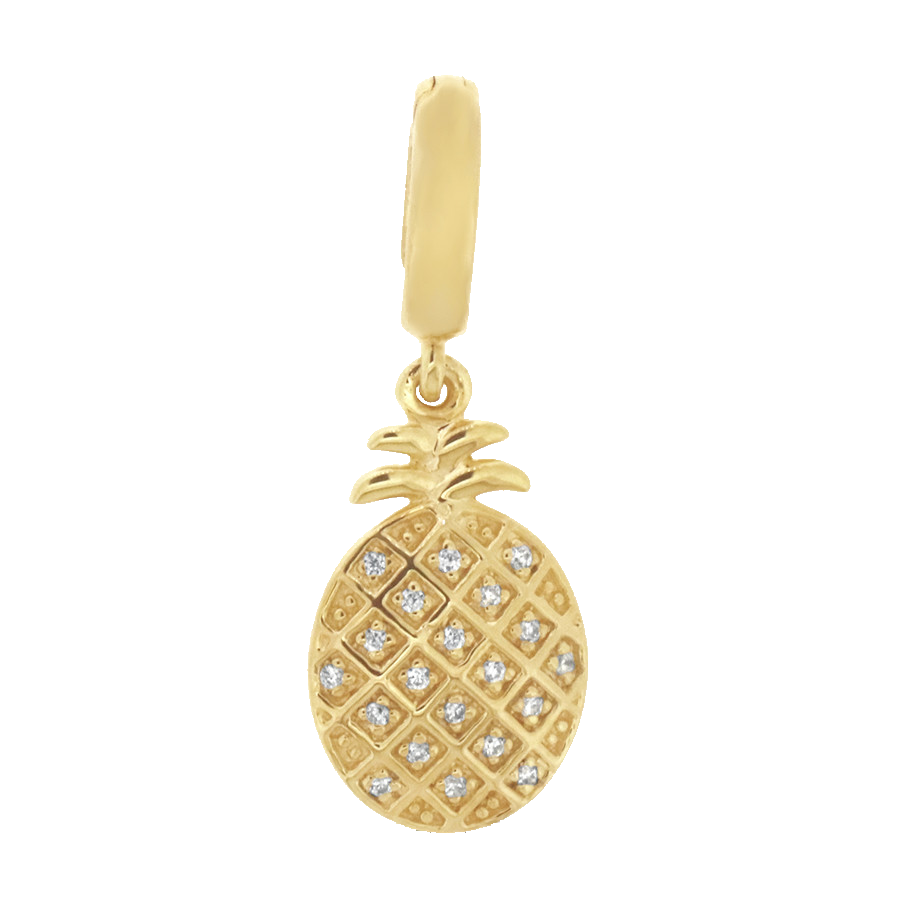 Shop pineapple charm in 10K yellow gold with diamonds.