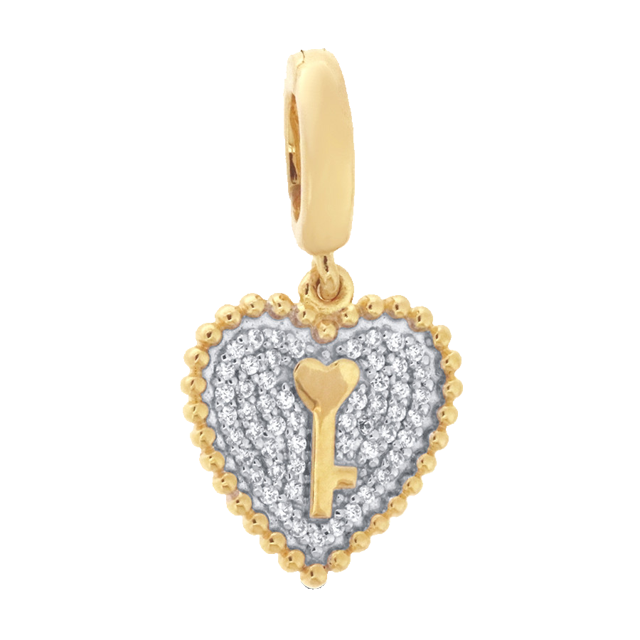 Shop heart key charm in 10K yellow gold with diamonds.