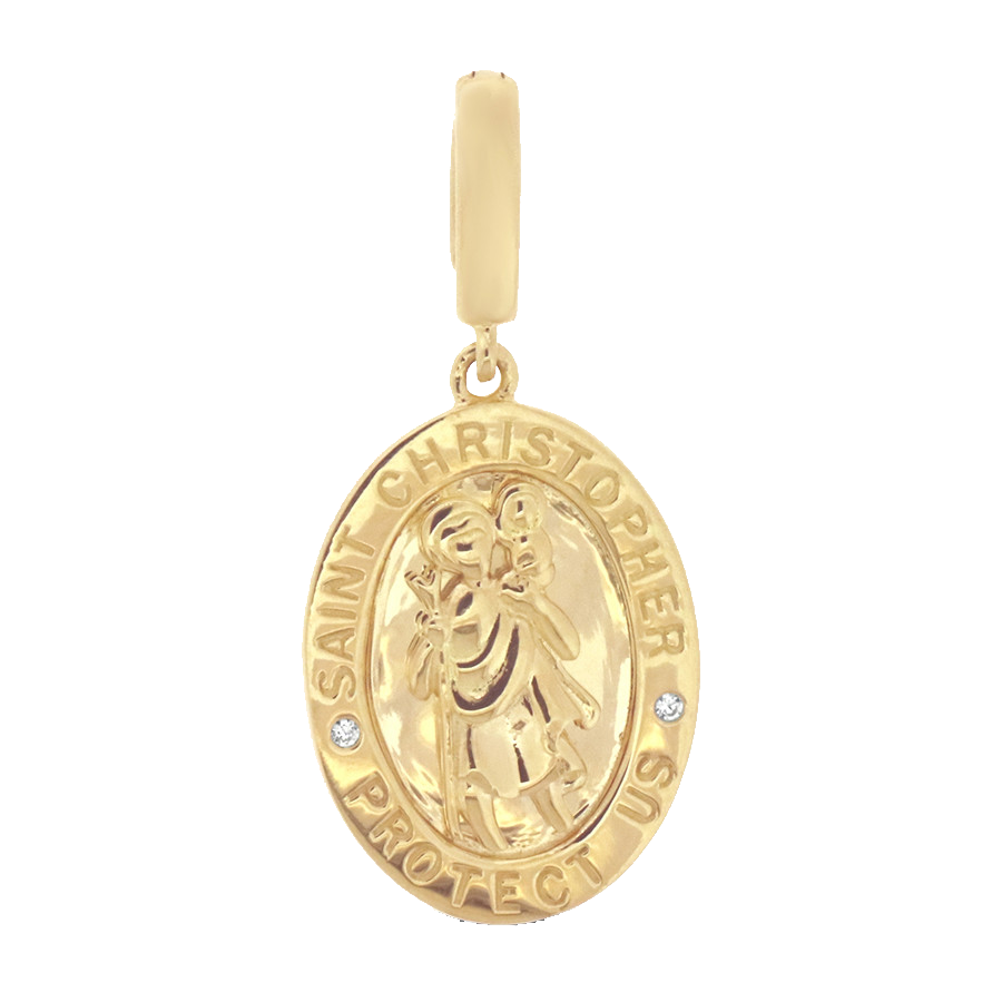 Shop St. Christopher charm in 10K yellow gold with diamonds.