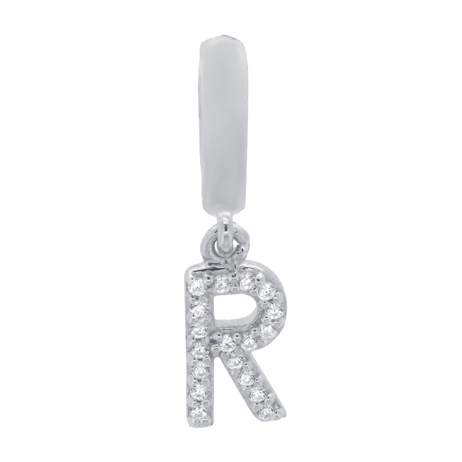 Shop letter R charm in sterling silver with diamonds.