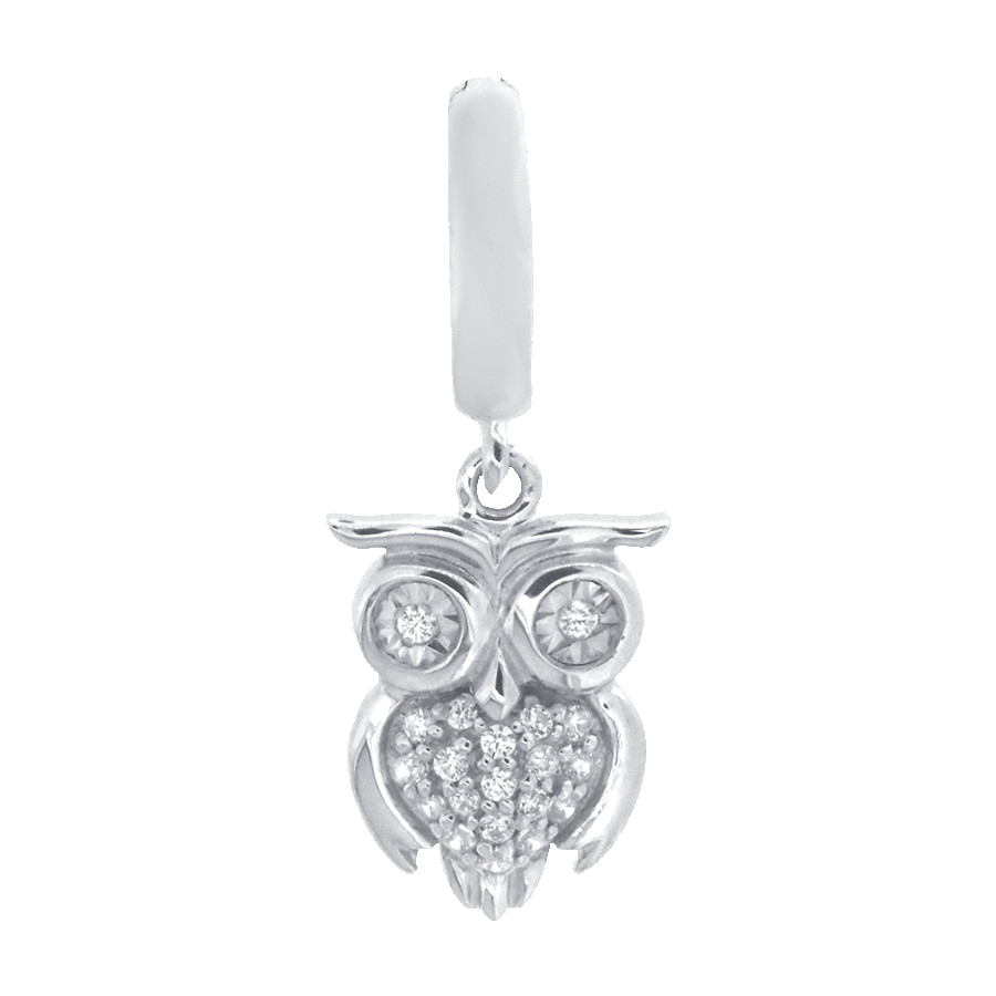 Shop owl charm in sterling silver with diamonds.