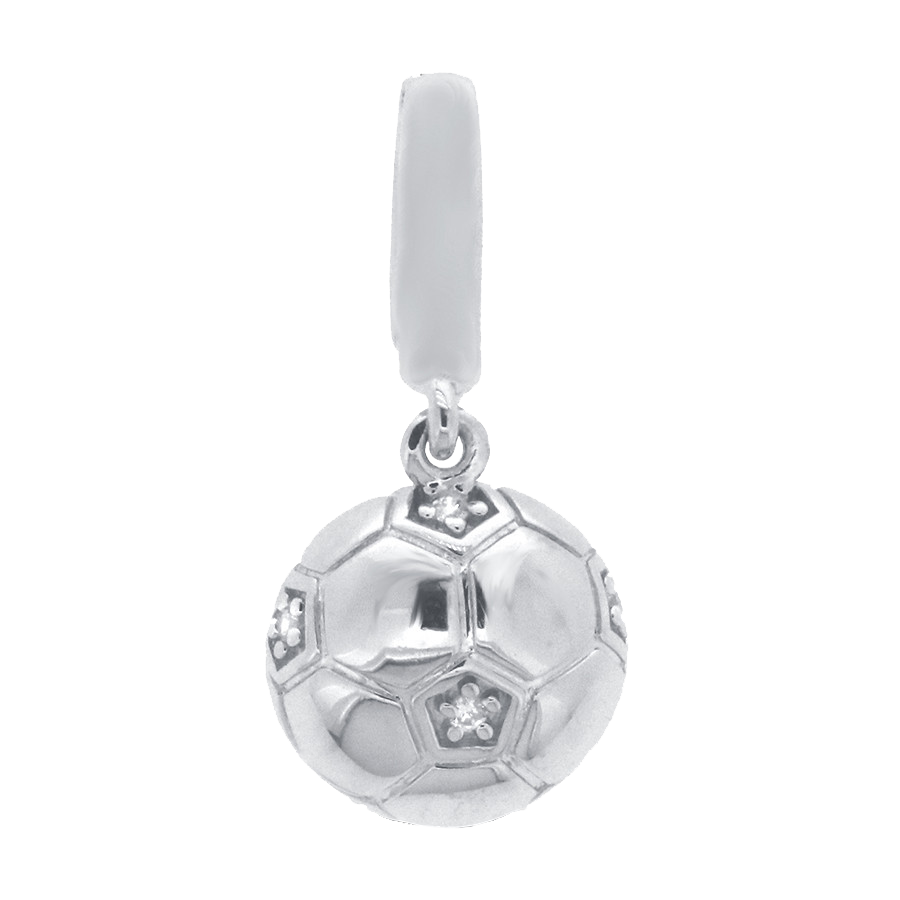 Shop soccer ball charm in sterling silver with diamonds.