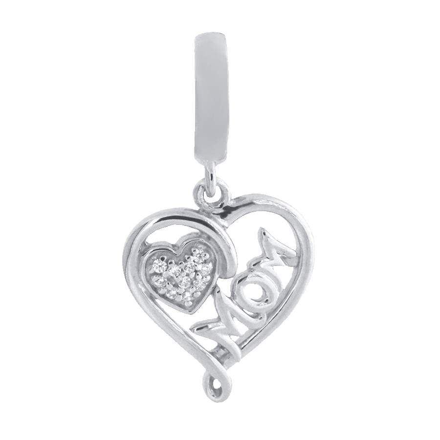 Shop mom heart charm in sterling silver with diamonds.