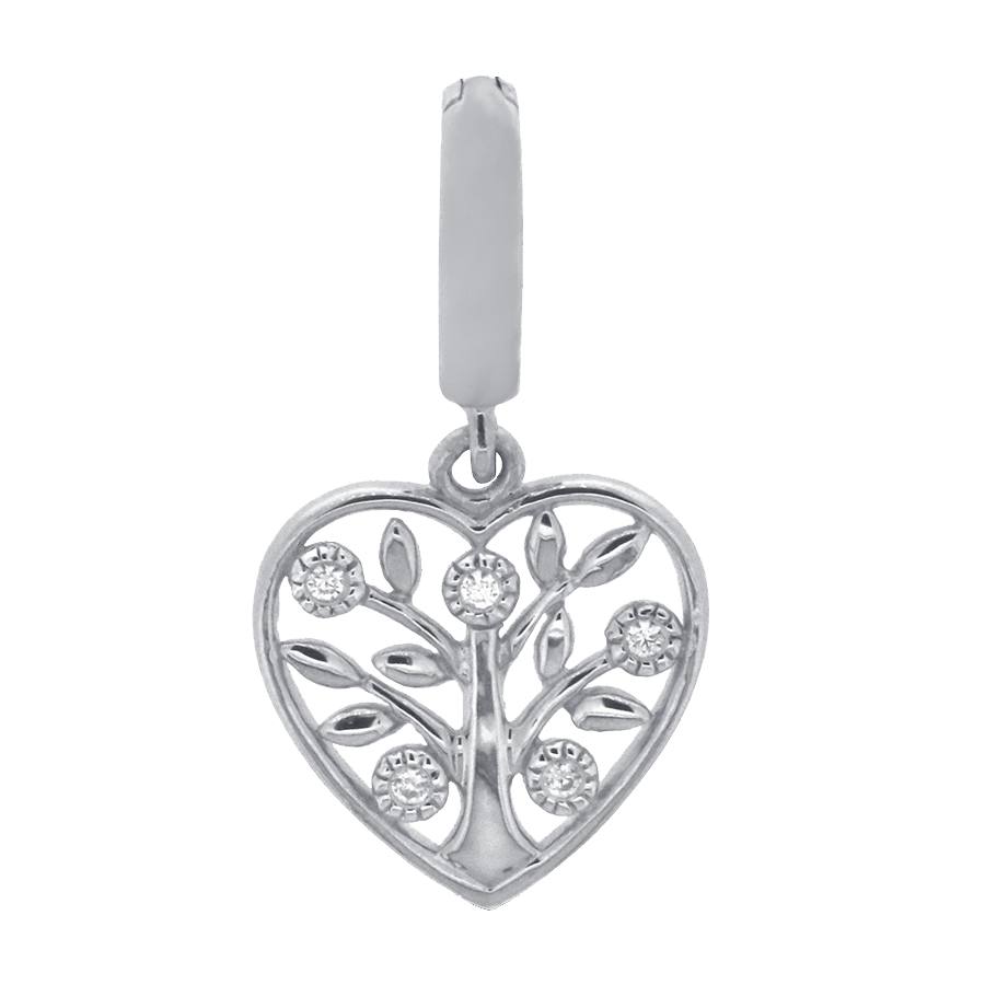 Shop family tree charm in sterling silver with diamonds.