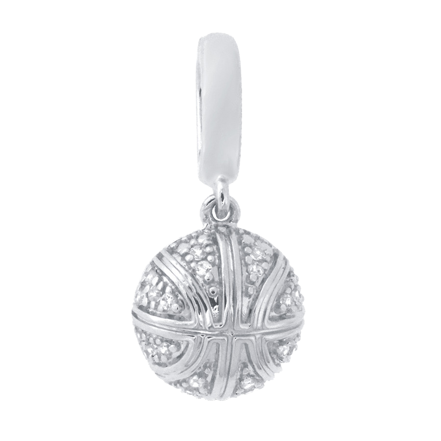Shop basketball charm in sterling silver with diamonds.