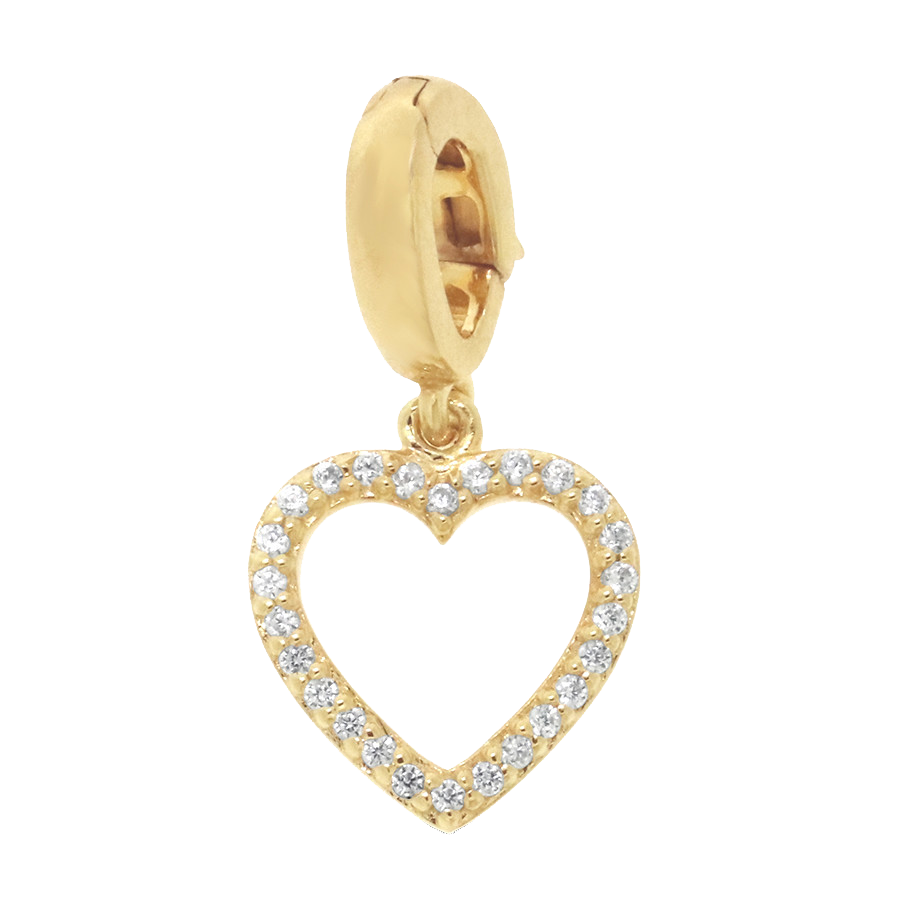 Shop heart charm set in 10K yellow gold with diamonds.