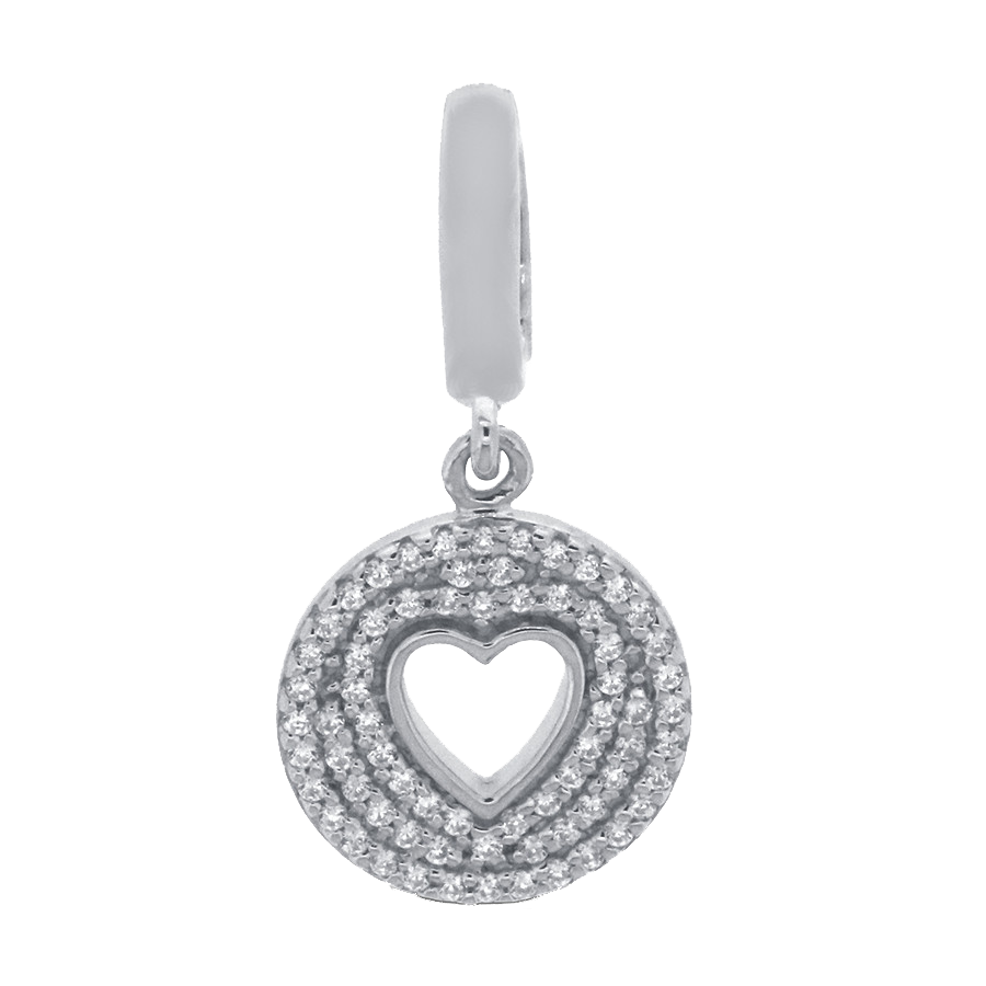 Shop heart charm in sterling silver with diamonds.