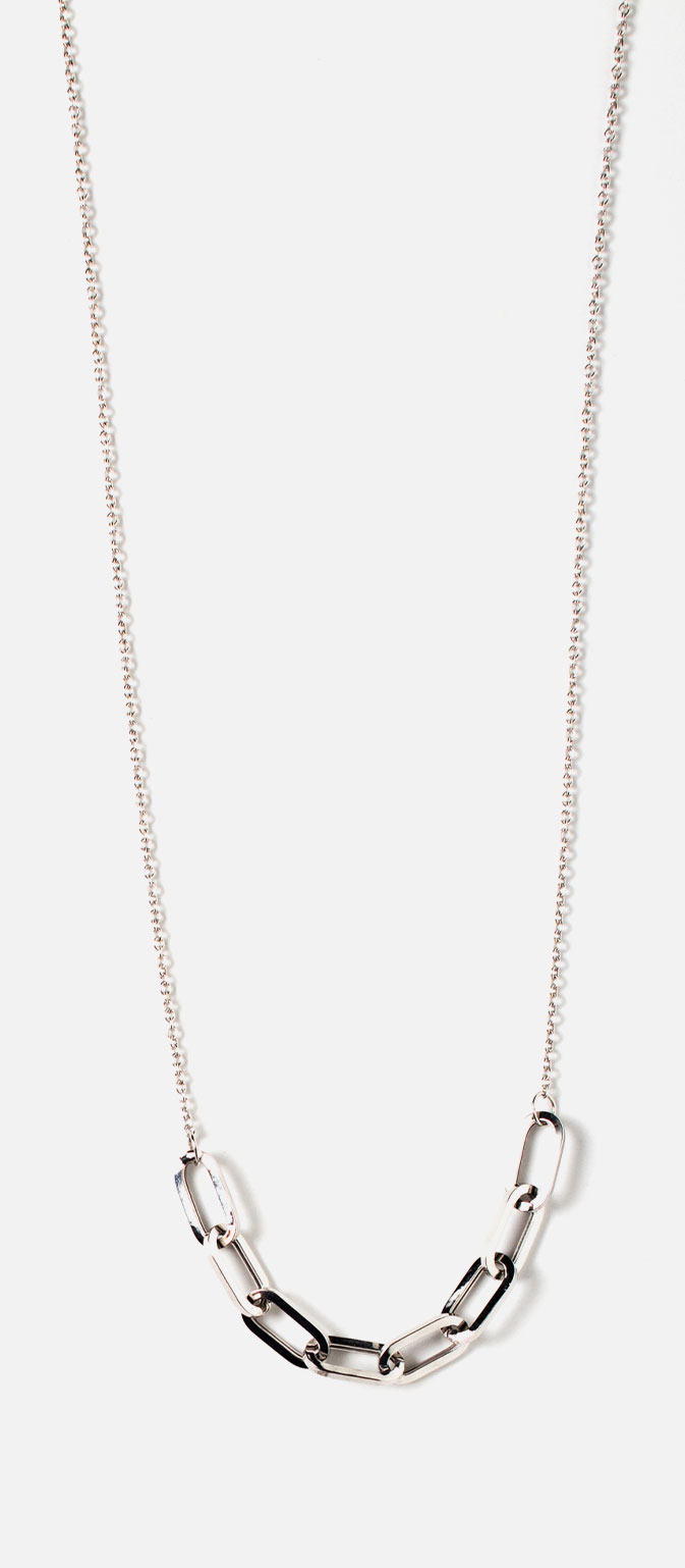Shop charm holder link necklace in sterling silver.
