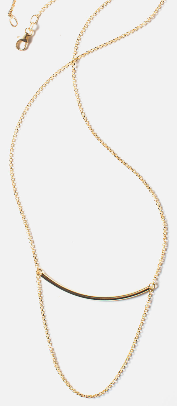 Shop charm holder bar necklace in 10K yellow gold.