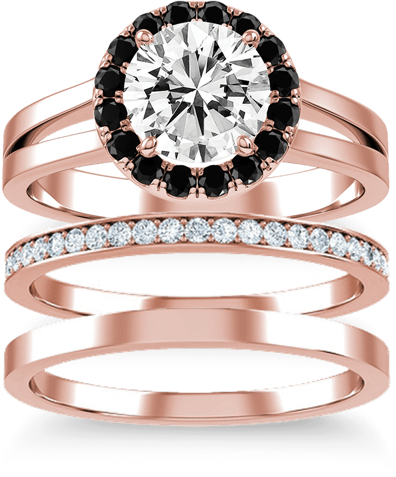 A set of three KAY rose gold wedding bands