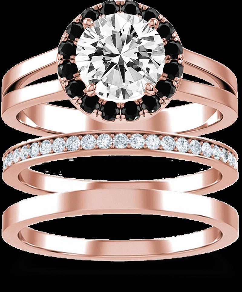 A set of three KAY rose gold wedding bands