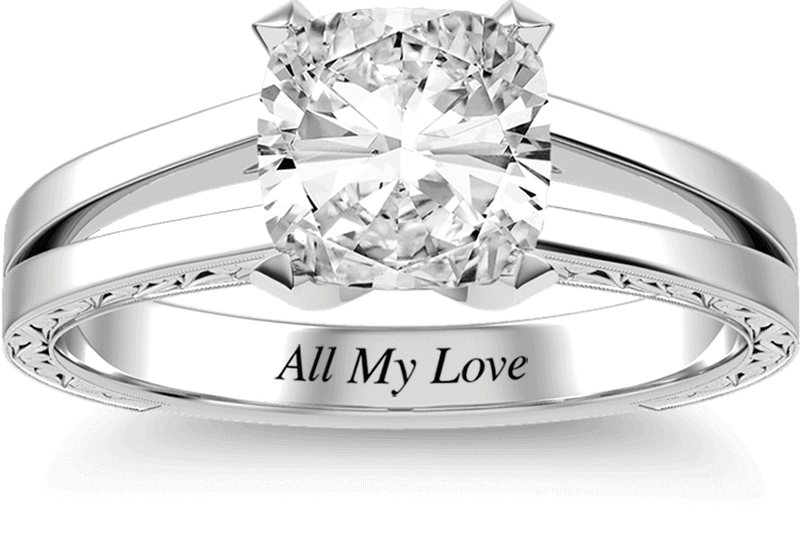 A KAY diamond engagement ring with a customized message