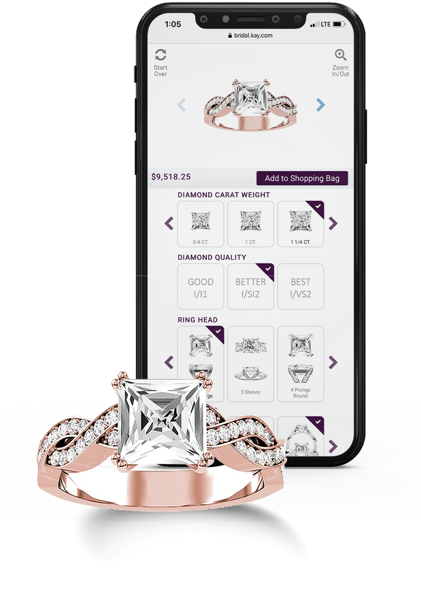 A KAY rose gold diamond ring next to a mobile device screen featuring the KAY ring customizer