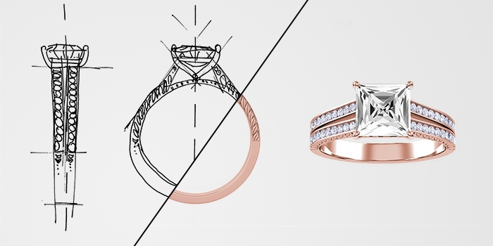 A sketch transforming into a completed KAY rose gold diamond engagement ring