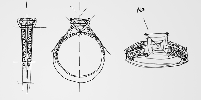 Three angles of a sketched KAY diamond engagement ring