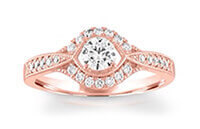 A Now & Forever brand 14k rose gold and diamond wedding band with a round-cut center diamond