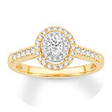 A gold and diamond band with a halo of diamonds surrounding a round-cut center diamond