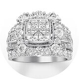 A wide-set white gold and diamond band with four princess-cut diamonds haloed by round cut diamonds