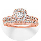 A rose gold and diamond wedding band with a square-cut center stone