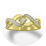 A gold and diamond twist band with a round-cut center