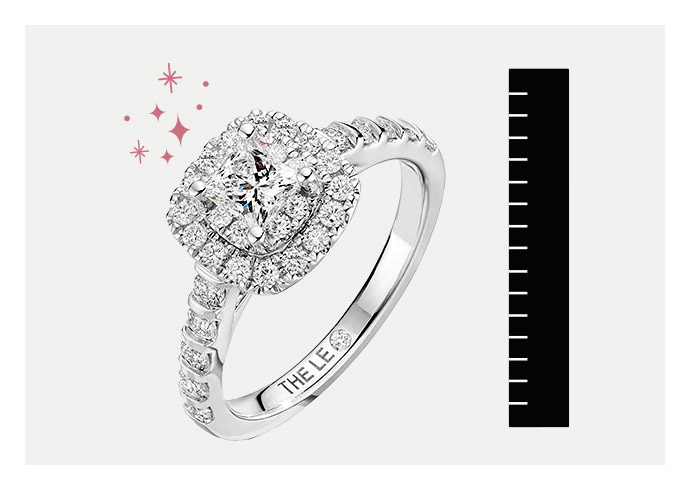 A KAY diamond engagement ring being measured