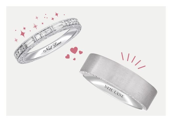 A pair of men's and women's KAY wedding bands