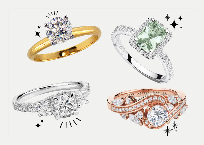 A set of four KAY engagement rings featuring a variety of unique styles