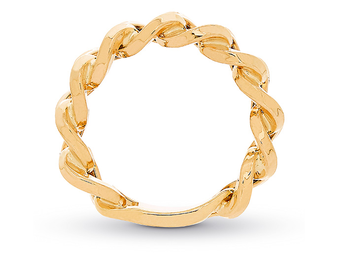 A gold chain link ring rests against a white background.