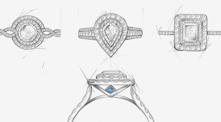 Pencil sketches of four different types of engagement rings