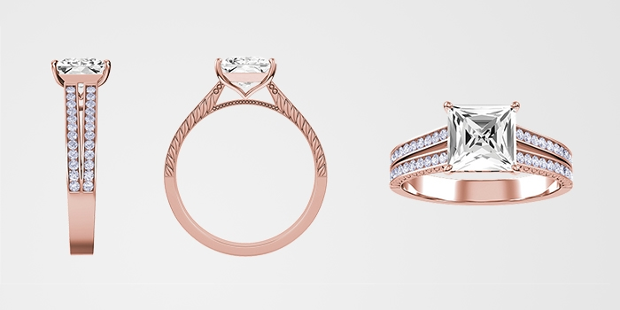 Three angles of a rose gold KAY diamond engagement ring