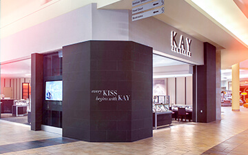 A KAY Jewelers corner store in a mall