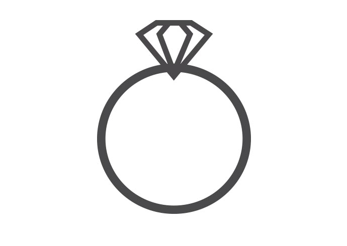 A graphic of a diamond ring on a white background.