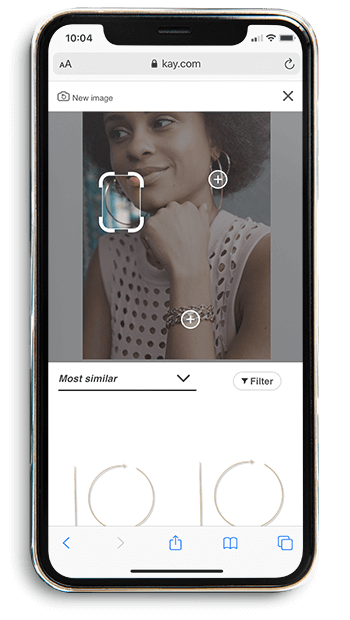 A smartphone showing the second step in the KAY mobile visual search experience
